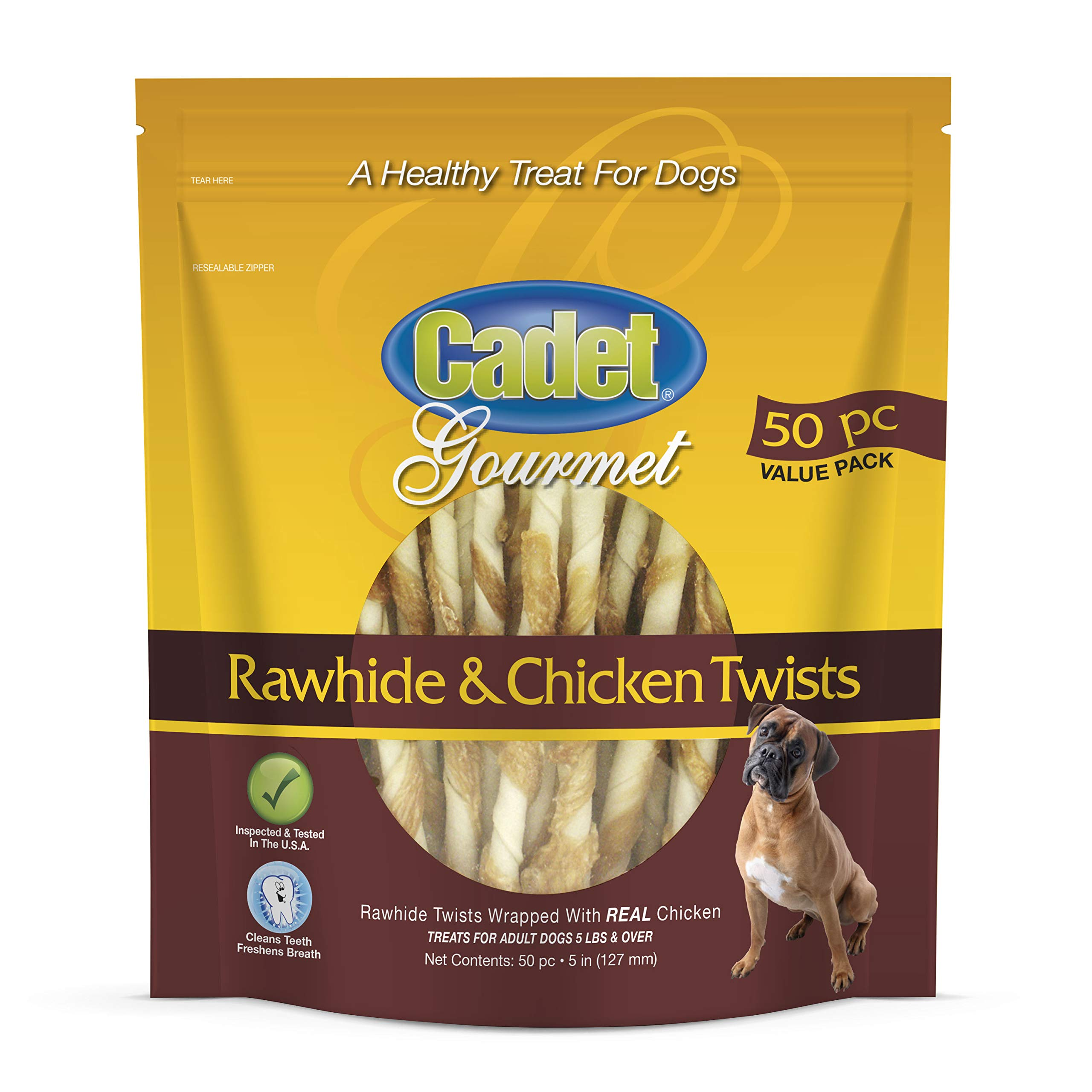 Cadet Rawhide Chicken Dog Chew Treats | 50 Count | Single Ingredient Dog Treats| Natural and Healthy by Cadet