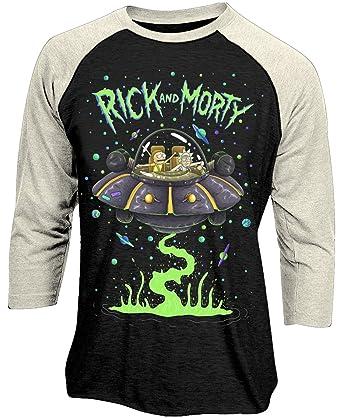 f0d7d51c CID Rick and Morty 'Spaceship' Long Sleeve Baseball-Shirt (Small) Black