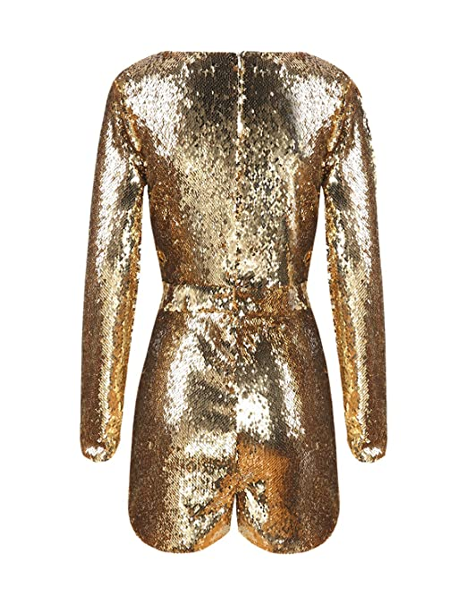 Vintage Rompers, Playsuits | Retro, Pin Up, Rockabilly Playsuits HaoDuoYi Women Mardi Grass Sparkly Sequin V Neck Party Clubwear Romper Jumpsuit $29.99 AT vintagedancer.com