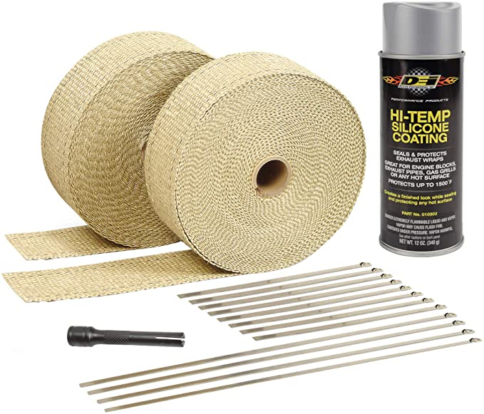 Amazon.com: Design Engineering 010093 Exhaust/Header Wrap Kit with Hi-Temp Silicone Coating Spray - Tan Wrap/Aluminum Spray (Retail Packaging): Automotive