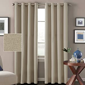 H.VERSAILTEX Window Treatment Grommet Linen Blackout Curtains 96 Inches Long for Living Room Thermal Insulated Room Darkening Textured Linen Curtains for Bedroom 96 Inches, Light Taupe, 2 Panels