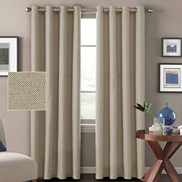 Hversailtex Window Treatment Grommet Faux Linen Blackout Curtains 96 Inches Long For Living Room Thermal Insulated Room Darkening Textured Linen