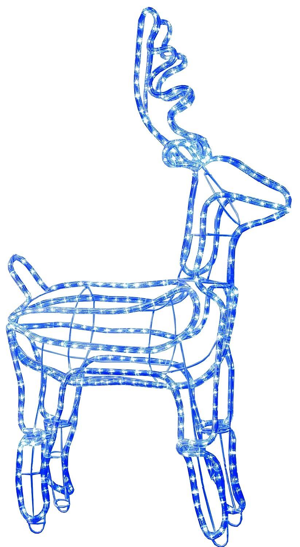 Best Season 3D-LED-Rope-Light-Silhouette Rentier, stehend 432 blaue LED, circa 105 x 60 cm, outdoor 802-28