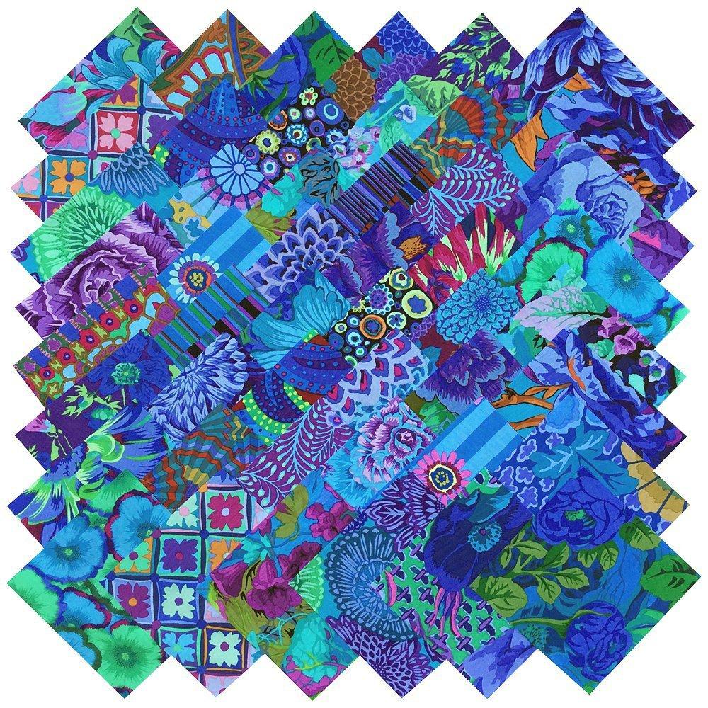 Kaffe Fassett Collective PLUM BLUE BEAUTIES Precut 5-inch Cotton Fabric Quilting Squares Charm Pack Assortment Westminster Fibers