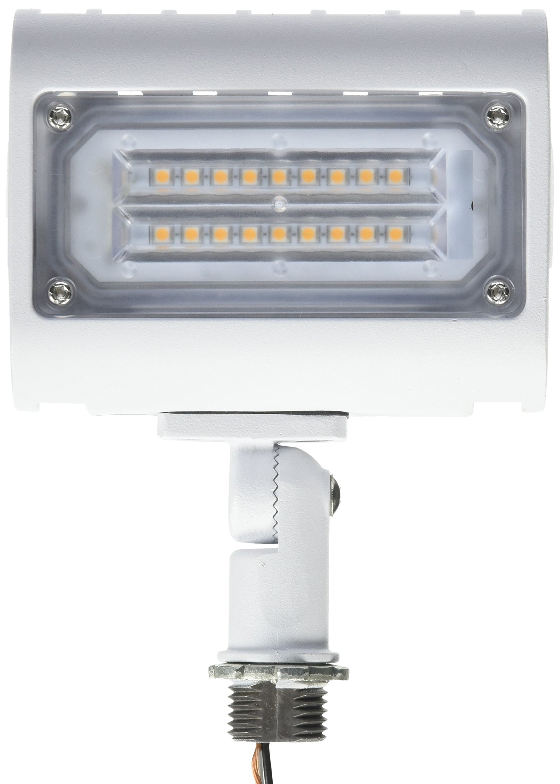 Morris 71553 15W 3000K LED Flat Panel Flood Light with 1/2'' Adjustable Knuckle Mount, 1400 lm, 120-277V, White
