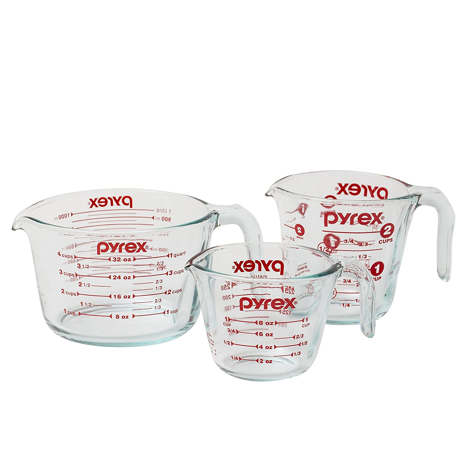 Pyrex PrepWare 3-Piece Glass Measuring Cup Set