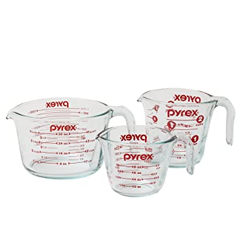 Pyrex 3 Piece Glass Measuring Cup Set
