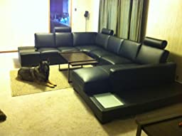 Amazon Com T35 Black Bonded Leather Sectional Sofa With
