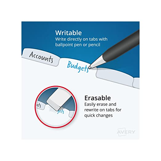 Amazon.com : Avery Durable Write-On Plastic Dividers with ...