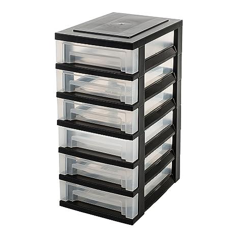 IRIS Cajón con Ruedas de plástico, Cómoda con 6 cajones, contenedores Negros, la