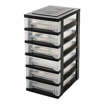 IRIS Ohyama, Torre de Almacenamiento con 6 cajones sobre Ruedas - Smart Drawer Chest - SDC-360, plástico, Negro/Transparente, 42 L, 29 x 39 x 63 cm