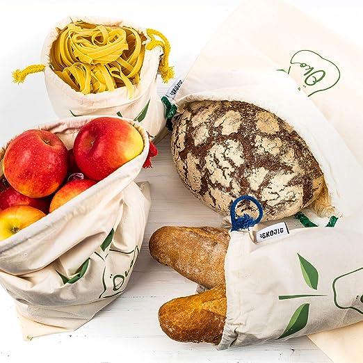 4 Bolsas reutilizables para pan y verduras | Bolsas de algodón en ...