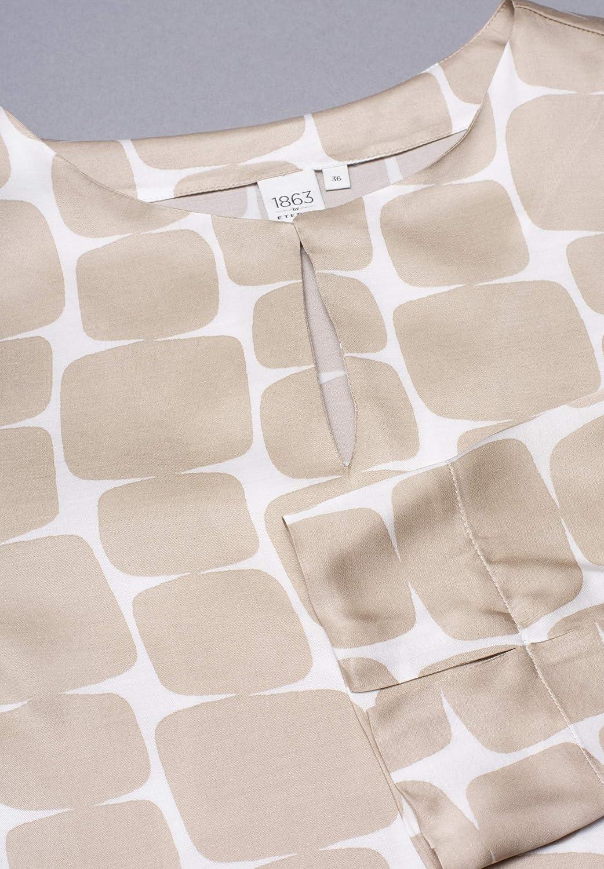 Eterna 3/4 Sleeve Shirtdress 1863 Premium Printed Beige/White