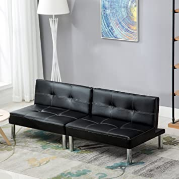 black folding pu leather futon sofa sleeper bed couch with chrome rh amazon co uk black leather sleeper sofa queen black friday sleeper sofa sale