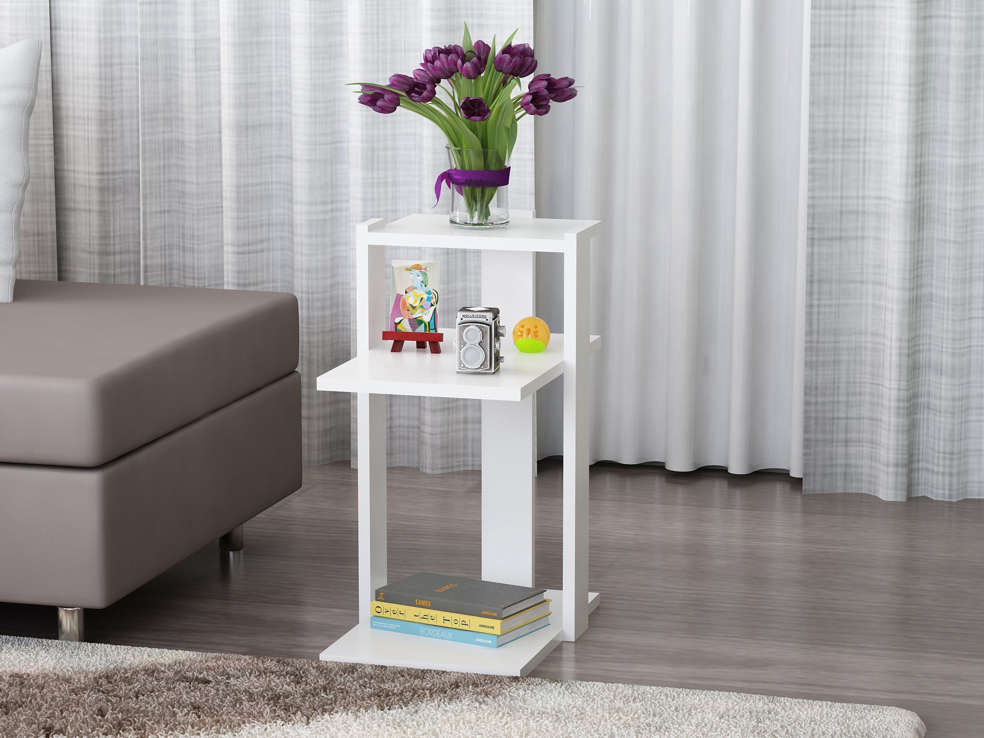 Side Table, 100% Melamine Coated Particle Board - Modern White Table, Two Shelves Tea Table, Hidden Casters - Size (17.7'' x 23.6'' x 11.8'') - Perfect Choice for Home & Office, Living Room, Bedroom
