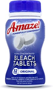 AMAZE Ultra Concentrated Bleach Tablets for Laundry and Home Cleaning. (32 Count Original)