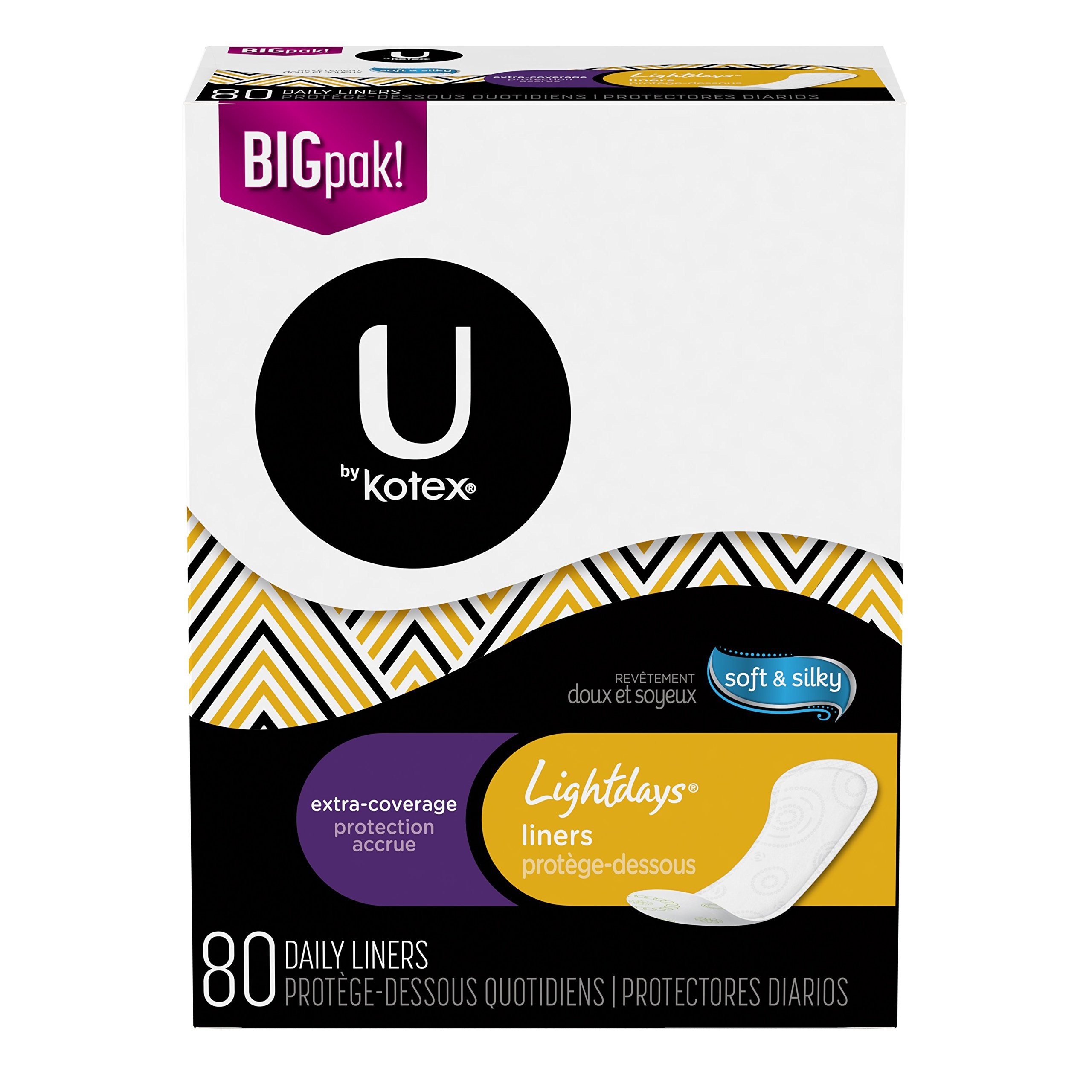 U by Kotex Lightdays Liners, Extra Coverage, Unscented, 80 Count (Pack of 6) by U by Kotex