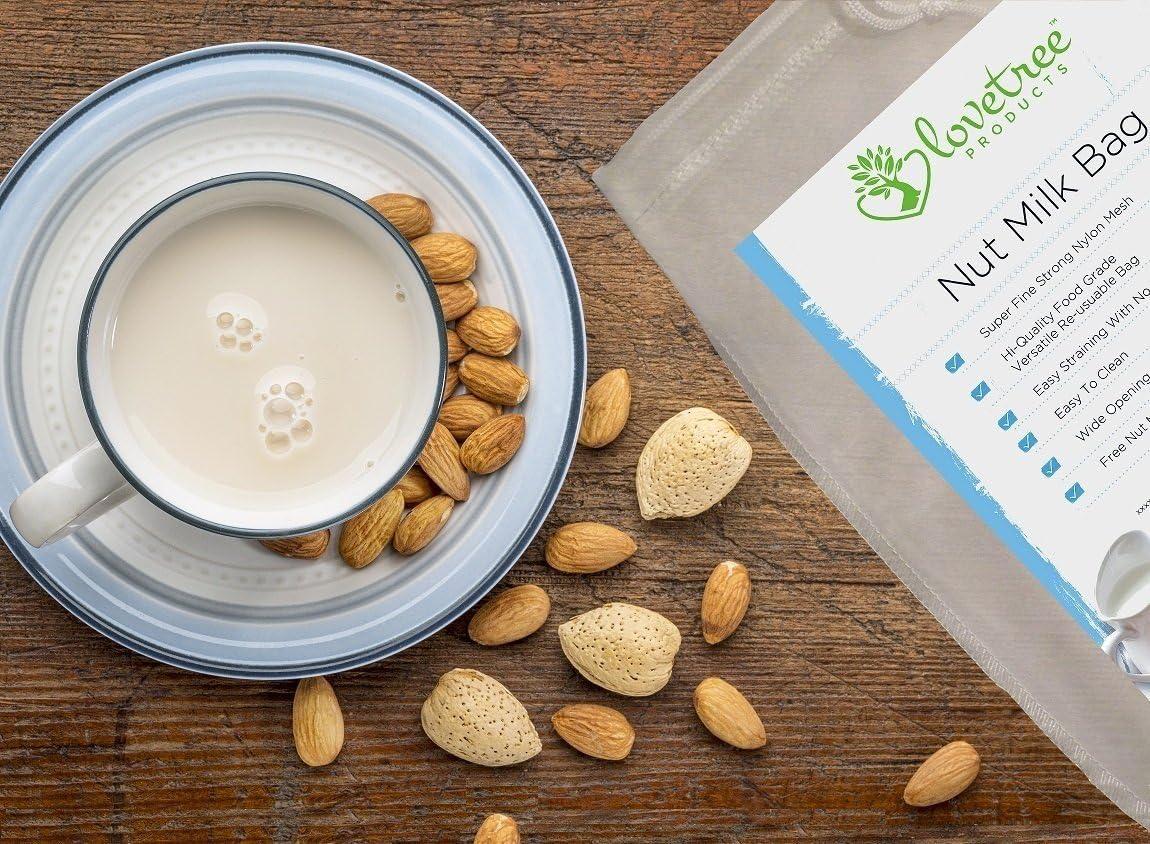 Compra Productos Love Tree bolsa para leche de nueces - El mejor colador orgánico de leche de almendras con calidad premium que incluye un E book de recetas gratuito - Bolsa de