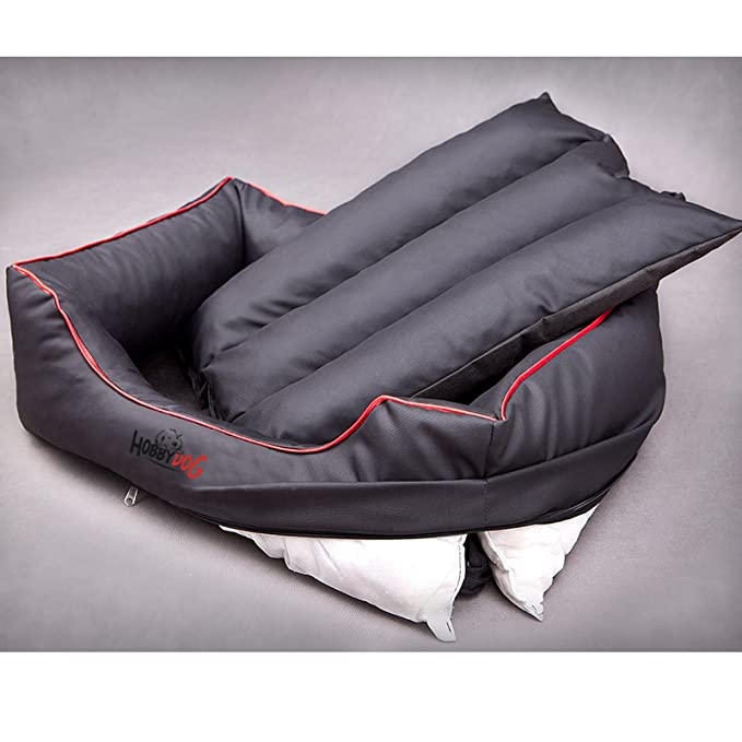 3X-Large HOBBYDOG Cordura Comfort Dog Bed Black//Red Piping