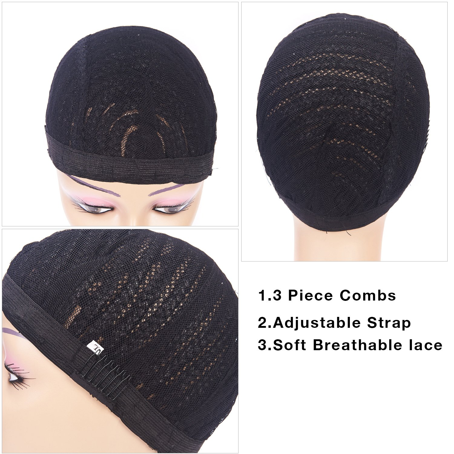Clip in Braided Wig Caps Crochet Cornrow Cap For Easier Sew In Cap for Making Wigs Adjustable Crochet Wig Cap with 1 Free Hook Needle (L) by XFX Hair (Image #5)
