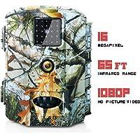 Olymbros Caméra de Chasse Camera de Surveillance HD 16MP 1080P Étanche IP65 Ideal pour Les Chasseurs Grand Angle 110 ° de Vision Vision Nocturne Déclenchement Automatique à 20m.