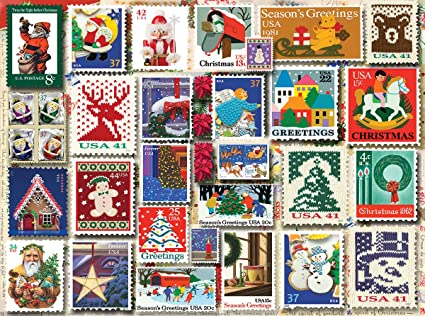 Christmas Stamps.White Mountain Puzzles Christmas Stamps 1000 Piece Jigsaw Puzzle
