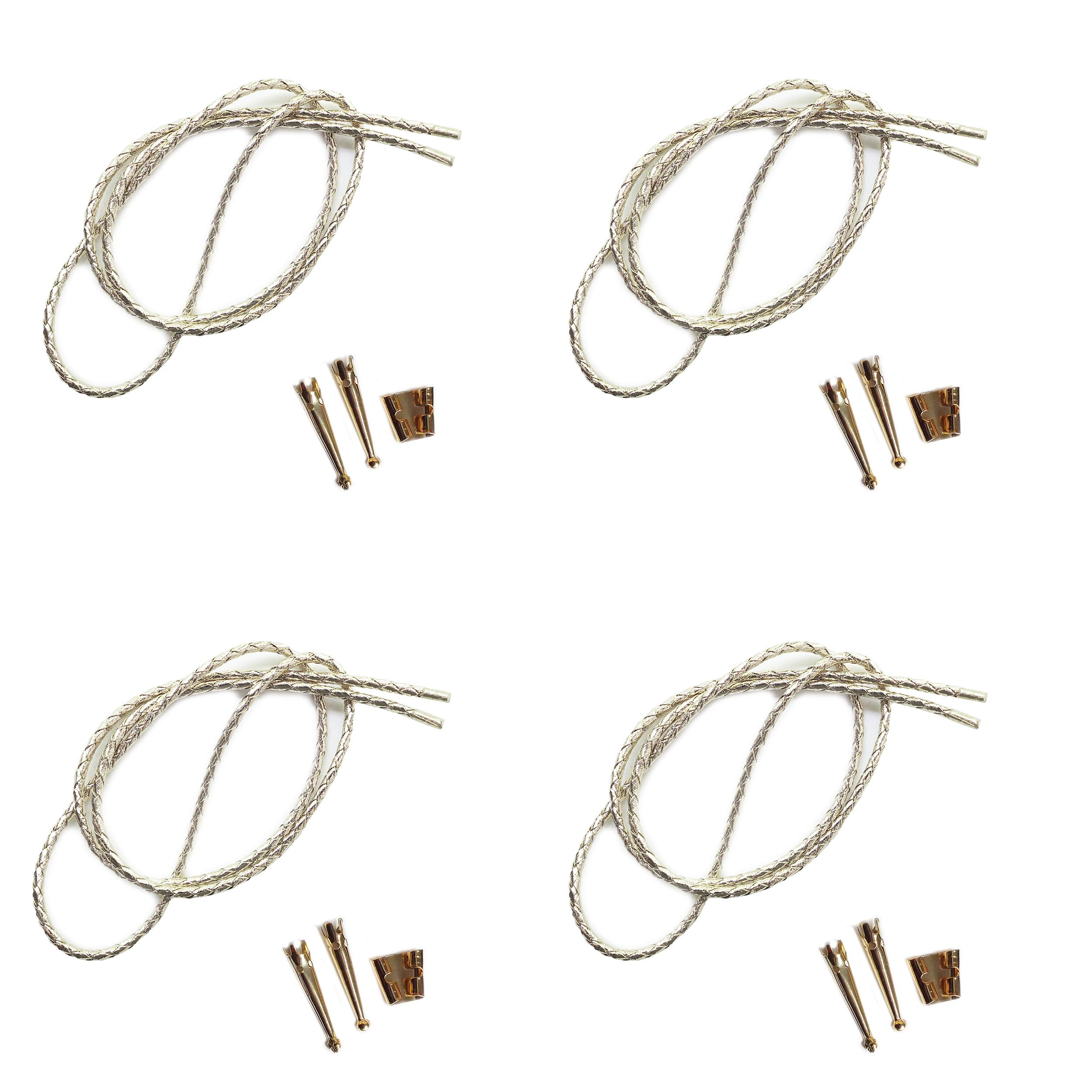 Blank Bolo String Tie Parts Kit Standard Slide Smooth Tips Silver Vinyl Braid DIY Gold Tone Supplies for 4 Ties