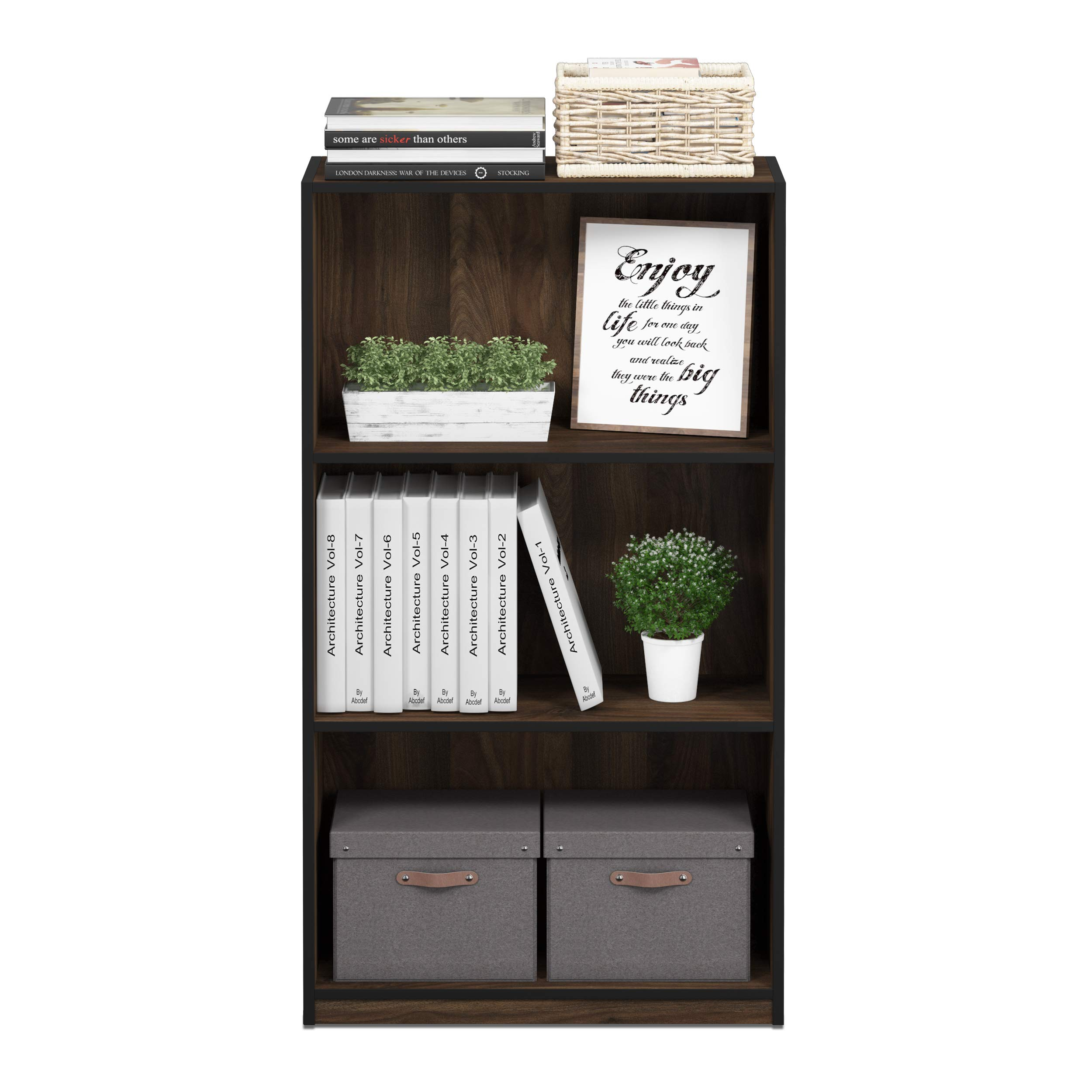 Furinno 99736CWN Basic 3-Tier Bookcase Storage Shelves, Columbia Walnut by Furinno (Image #5)