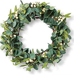 20'' Eucalyptus Wreath, Artificial Eucalyptus Leaves Wreath with Big Berries, Spring Wreaths for Front Door, Green Wreath for Party Decoration Wall Window Decor- (Berry Eucalyptus Wreath)