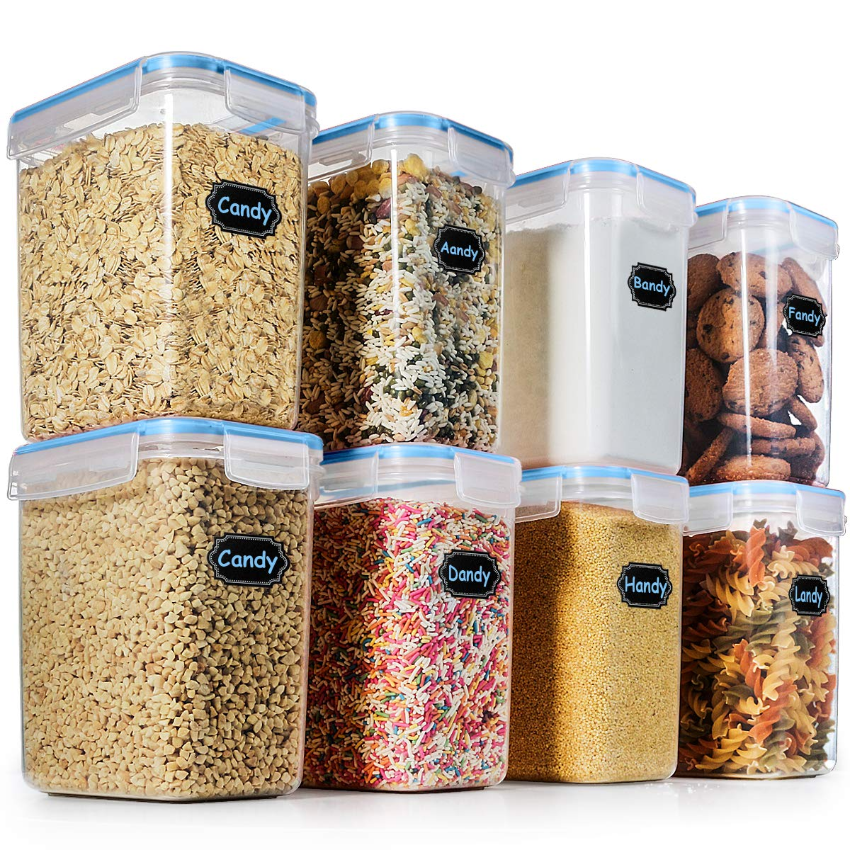 Food Storage Containers Airtight Containers, Estmoon Cereal & Dry Plastic Containers for Cereal Flour Rice Snacks Sugar, Leak Proof with Locking Lids - Set of 8 (54.66 oz / 1.6L)