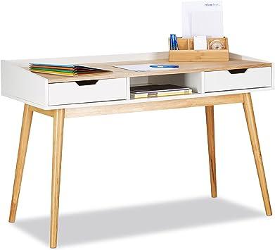 Relaxdays Schreibtisch, skandinavisches Design, 2 Schubladen, Bürotisch  HxBxT: ca. 76 x 120 x 55 cm, Holz, weiß-braun, Standard