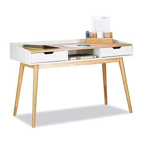 Schreibtisch design holz  Relaxdays Schreibtisch, skandinavisches Design, 2 Schubladen, Bürotisch  HxBxT: ca. 76 x 120 x 55 cm, Holz, weiß-braun