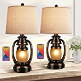 Farmhouse Bedside Table Lamps for Living Room Set of 2 Oatmeal Tapered Drum Shade Rustic Bedroom Nightstand Lamps with 2 USB