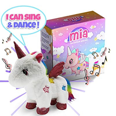 CEER'S Mia The Magical Unicorn Toy for Girls with Walking Singing Light-Up Action Rainbow Toy for Child Development Great for 2 3 4 Year Old Girls: Toys & Games