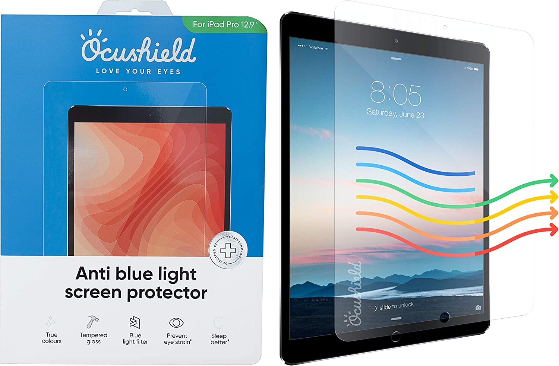 Ocushield - Protector de pantalla de cristal templado para Apple iPad Air/Air 2/Pro 9.7' 10.5' 12.9' - Dispositivo médico acreditado - 100 días