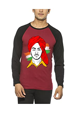 132808a98 Image Unavailable. Image not available for. Colour: BUGG Maroon & Black  Color Cotton Raglan Bhagat Singh T Shirt