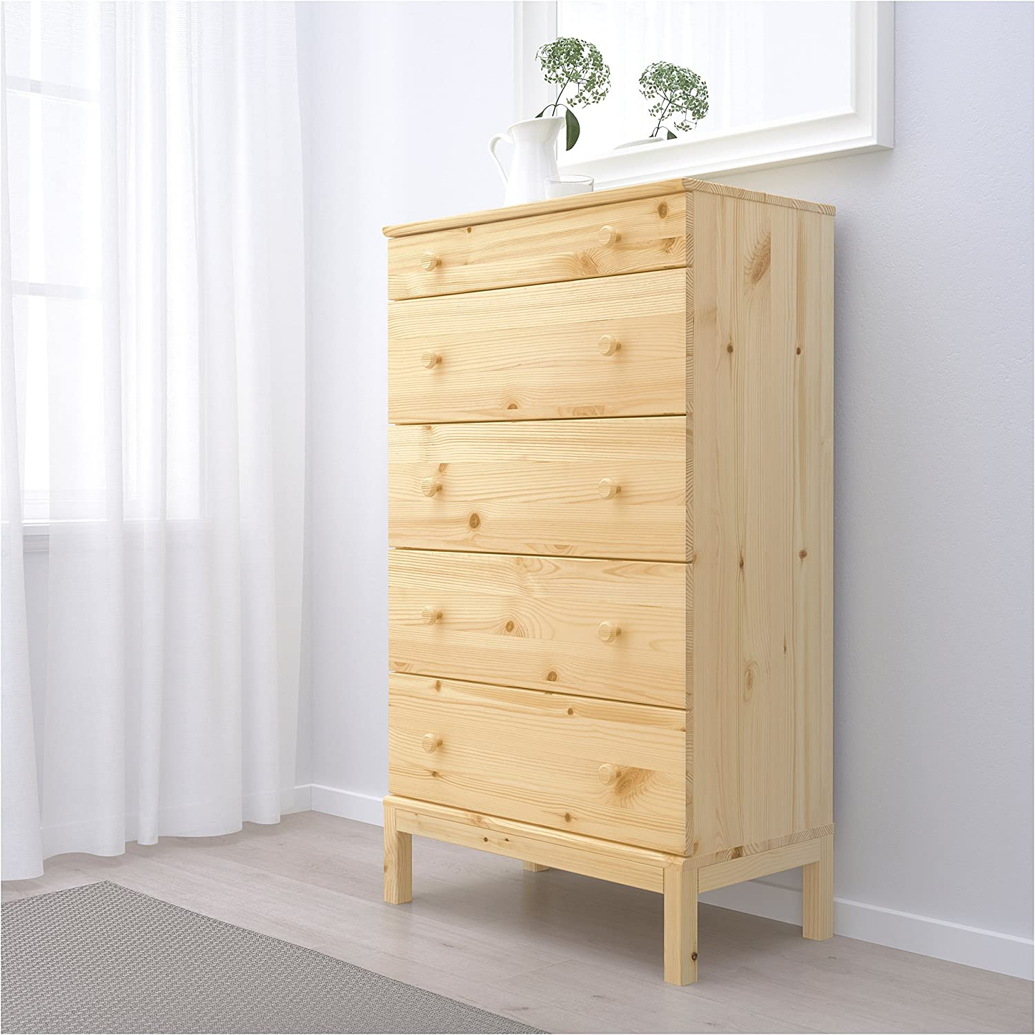 10. IKEA 5 Drawers Solid Wooden Tower Dresser.