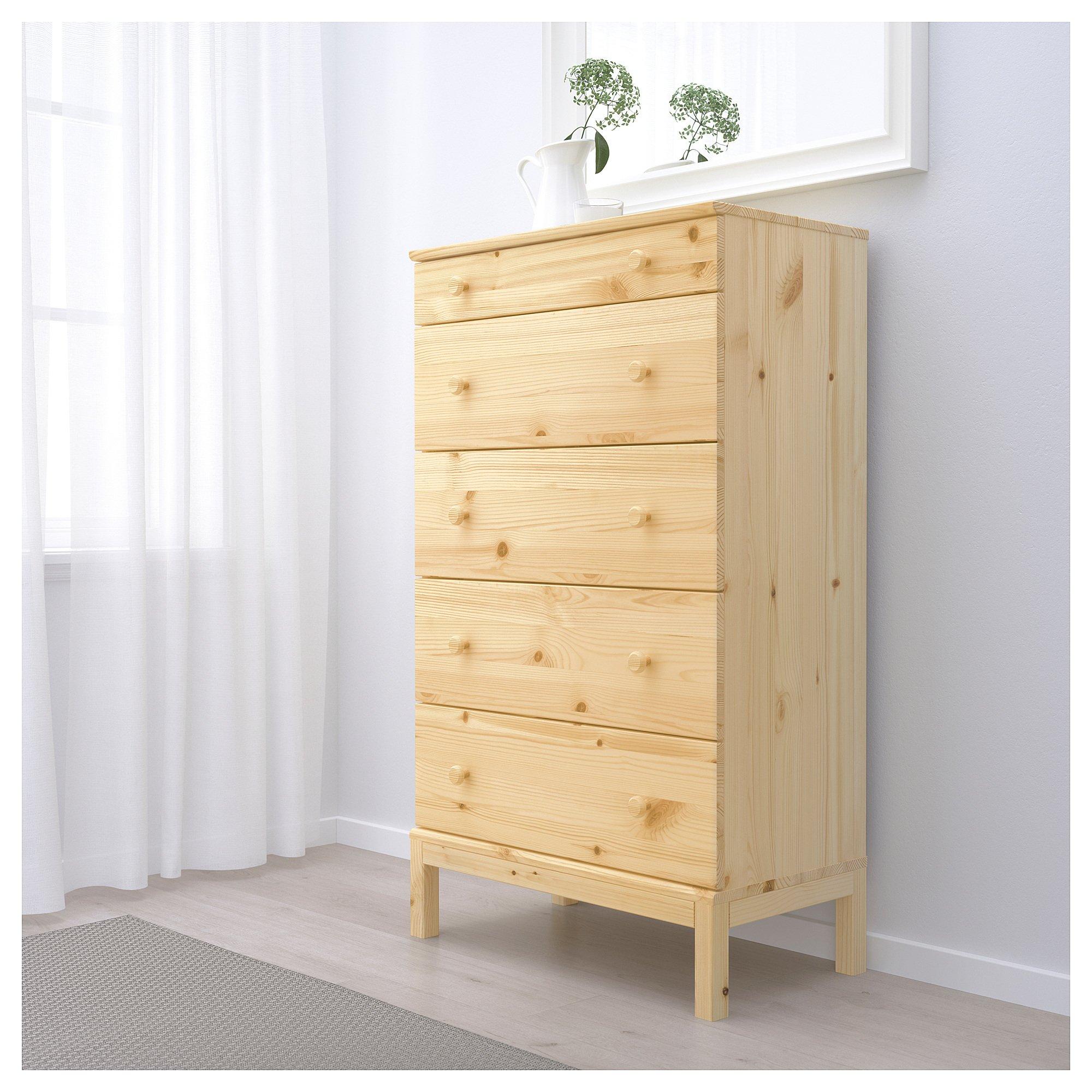 Ikea 5-drawer chest, pine