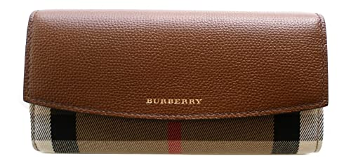 Burberry cartera para mujer Porter Continental 39753291 House Check Horseshoe Tan: Amazon.es: Zapatos y complementos