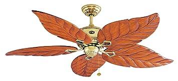 "Hampton Bay Antigua Ceiling Fan: Tropical Hampton Bay Ceiling Fan, 56"" Antigua Flemish Brass,  Hand-Carved Wood,Lighting"