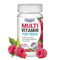 YUM-V's Complete Multivitamin and Multimineral Jellies (Gummies) for Teens w/ Extra Biotin, Berry Flavor (60 Ct); Chewable Daily Dietary Supplement, Vegan, Kosher, Halal, Gluten Free