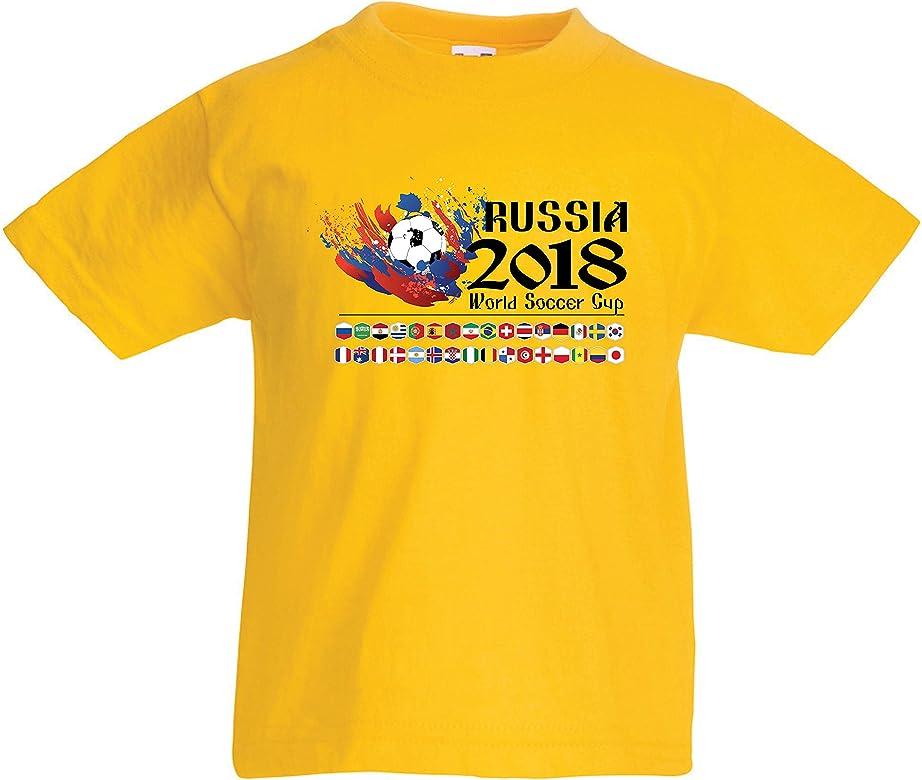 lepni.me Camiseta para Niño/Niña Copa Mundial de Rusia 2018, Las 32 Banderas Nacionales del Equipo de fútbol (1-2 Years Amarillo Multicolor): Amazon.es: Ropa y accesorios
