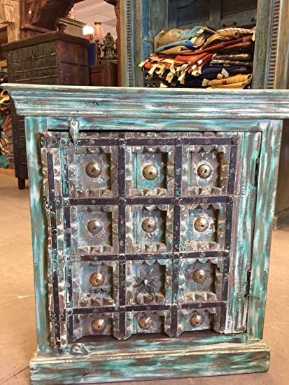 Mogul Interior Rustic Side Cabinet Furniture Antique Turquoise Distressed  Patina Chest - Amazon.com - Mogul Interior Rustic Side Cabinet Furniture Antique