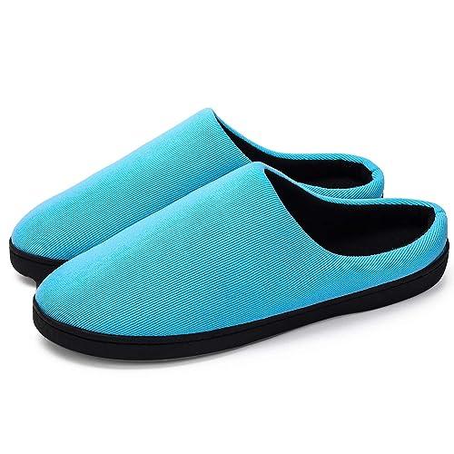 DoGeek Zapatillas de casa de Hombre Zapatillas de casa Hombre Invierno Antideslizante Mantener Caliente Tamaño de Zapato 36-47 Azul, Negro y Gris: ...