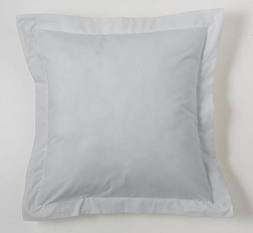 ESTELA - Funda de cojín Combi Lisos Color Perla - Medidas 55x55+5 cm. - 50% Algodón-50% Poliéster - 144 Hilos - Acabado en pestaña: Amazon.es: Hogar