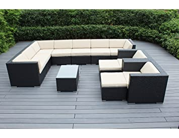 Ohana 12 Piece Outdoor Wicker Patio Furniture Sectional Conversation Set  With Weather Resistant Cushions,