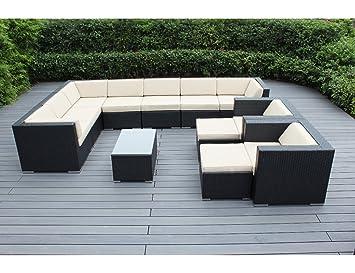 Amazoncom Ohana 12Piece Outdoor Wicker Patio Furniture
