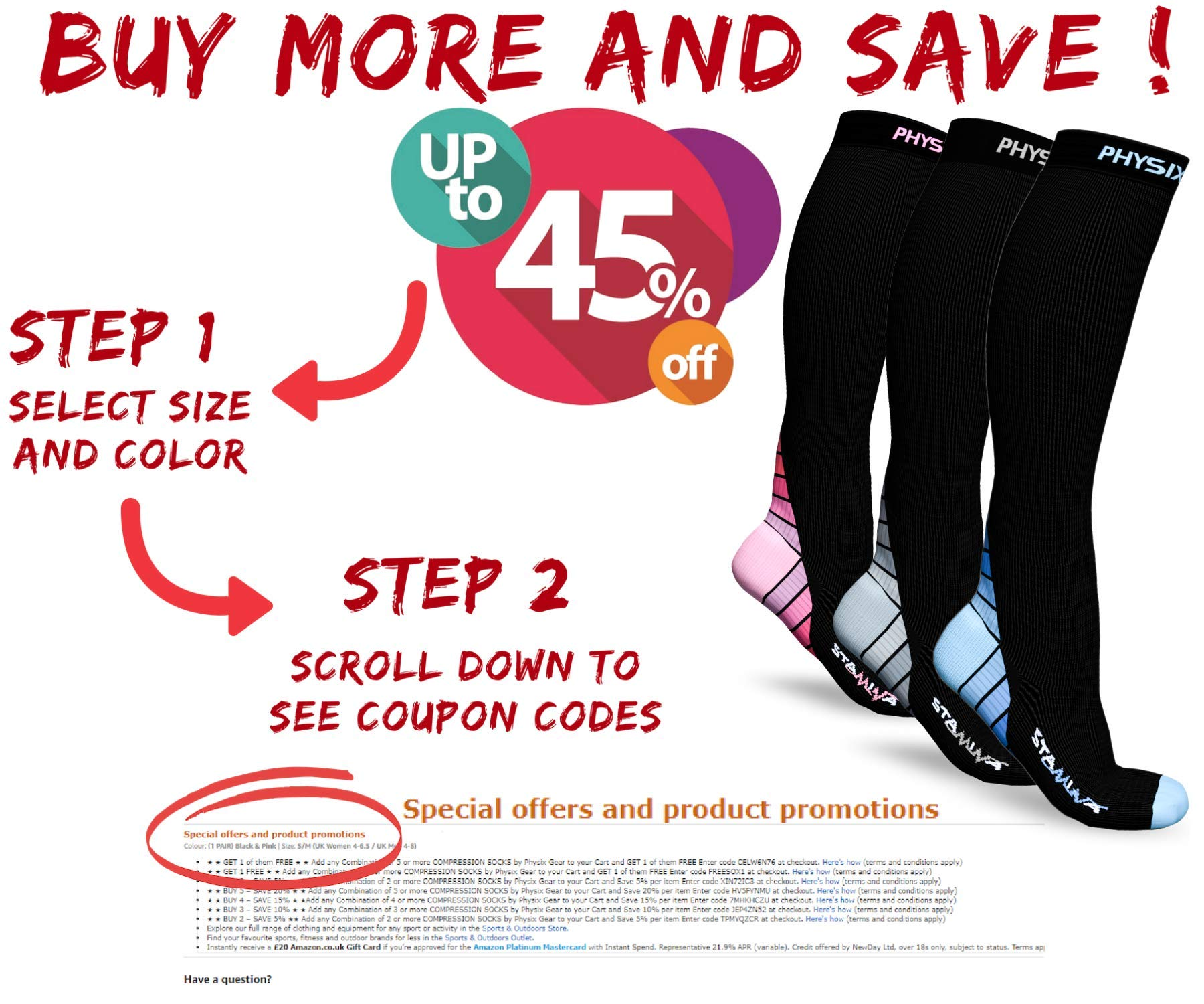 3 Pack Compression Socks for Men & Women 20-30 mmhg, Best Graduated Athletic Fit for Running Nurses Shin Splints Flight Travel & Maternity Pregnancy - Boost Stamina Circulation & Recovery BLU LXL by Physix Gear Sport (Image #8)