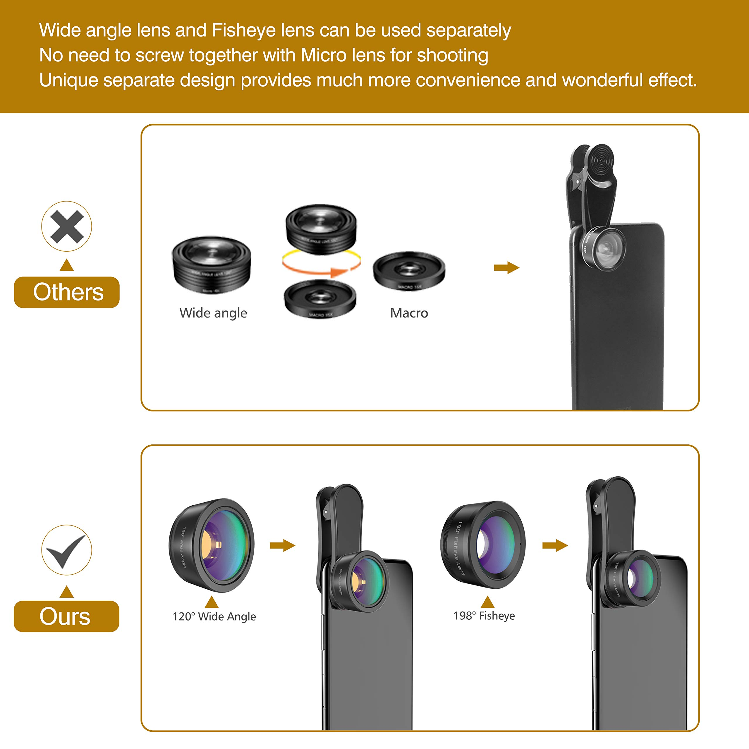 Phone Camera Lens,Upgraded 3 in 1 Phone Lens kit-198° Fisheye Lens + 20X Macro Lens + 120° Wide Angle Lens,Clip on Cell Phone Lens Kits Compatible with iPhone,iPad,Most Android Phones and Smartphones by LEKNES (Image #3)