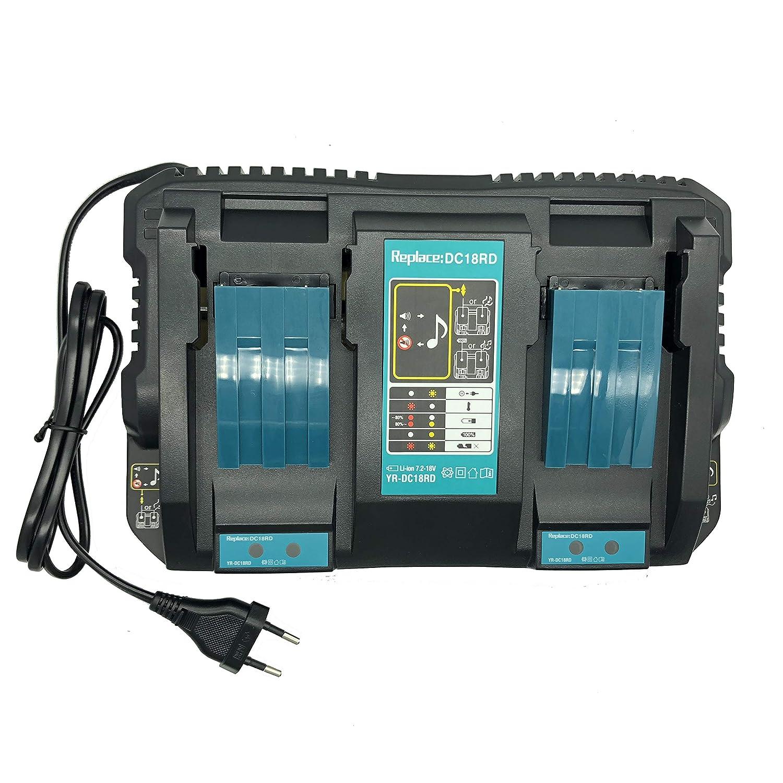 SHS DC18RD Dual Port Ladeger/ät Kompatibel mit Makita 18V und 14.4V Lithium-Ionen Akku BL1815 BL1830 BL1840 BL1850 BL1860 BL1415 BL1430 BL1440 BL1450